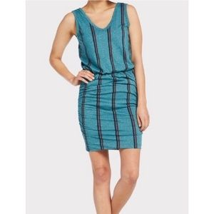 SUNDRY Teal Stripe Scrunch Dress